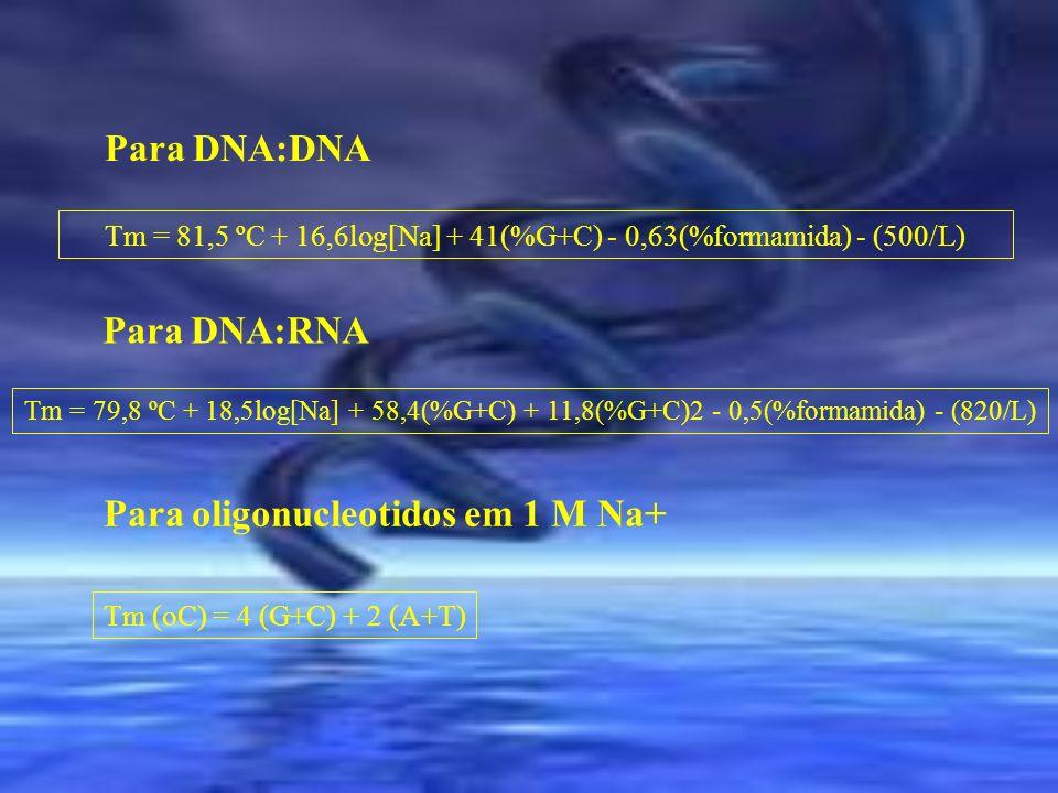 Tm = 81,5 ºC + 16,6log[Na] + 41(%G+C) - 0,63(%formamida) - (500/L)